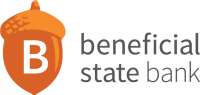 Beneficial state bank, with an orange acorn.